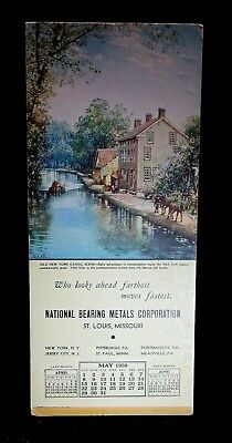 Vintage 1938 Ink Blotter Advertising Old NY Canal Scene National Metal St Louis