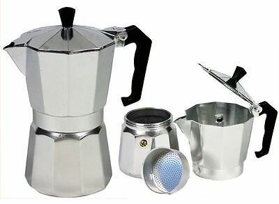 3 Cup Aluminium Traditional Continental Coffee Maker Espresso Cafetieres 175ml
