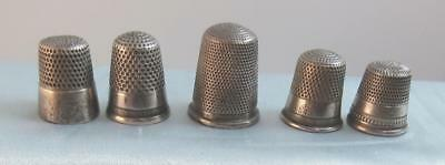 Vintage Lot of 5 Sterling Silver Sewing Thimble