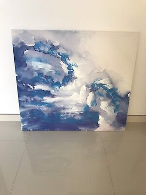 Painting Canvas Art Home Decor Wall Artwork BLUE WHITE 90cmx80cm PICK UP NSW