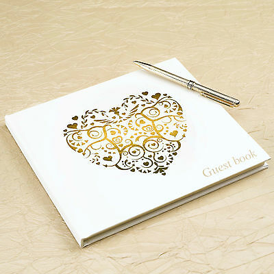 GUEST BOOK Ivory Gold Heart VINTAGE ROMANCE Blank Wedding Party Engagement