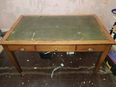 English Antique Walnut Writing Desk with Green Leather Inlay