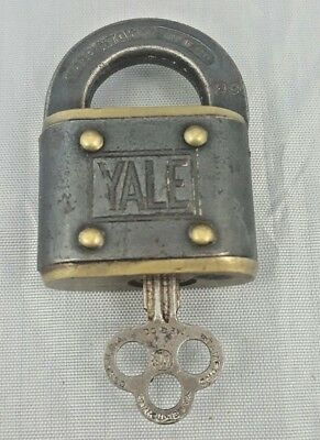 RARE Vintage Iron Brass YALE  Pad Lock With Original Key