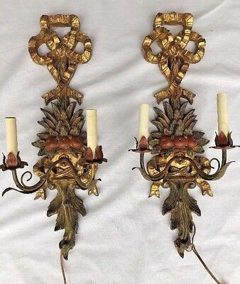 Italian Florentine Carved Tole Wood Fruit Bow Sconce Light Italy Florentia Pair