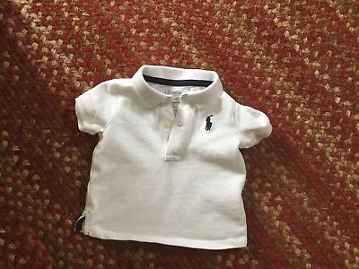 Ralph Lauren Boys Shirt 100% White Cotton Polo Collar Infant 6M