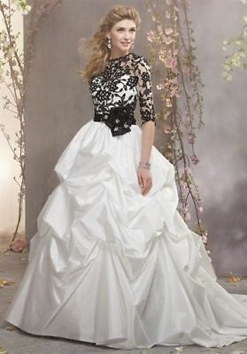 New ALFRED ANGELO style 2371 J  wedding dress size 12 white/black RRP £1200 +