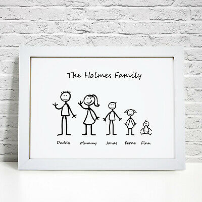 Personalised My Family Stick Figures Print Picture Frame Home Birthday Gift