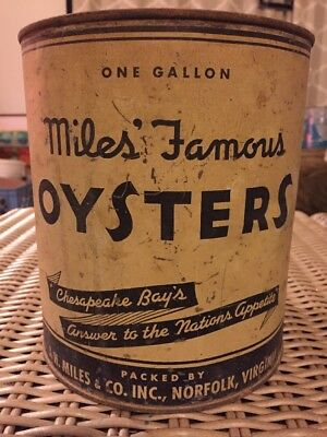Miles Famous Oysters Tin Can Gallon J. H. Miles & CO. Norfolk, VA no. 214