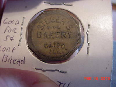 Unlisted ,Steger's Bakery, Cairo ,IL,ILL,Illinois,Good For,Trade,Token