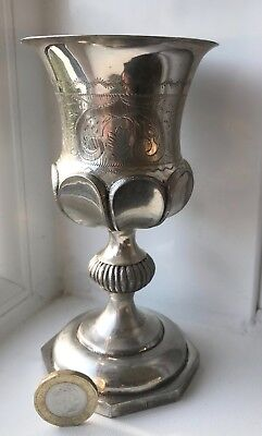 Rare 1830's Baroque German / Polish Large Silver Kiddush Cup Goblet Marked 12