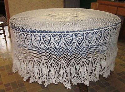 """Large Hand Made Round Crochet Table Cloth  176"""" Diameter"""