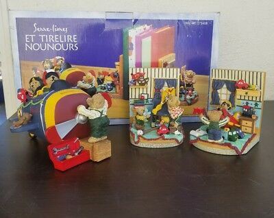 Nib - Individually Handpainted Teddy Bear Bookends And Coin Bank Airplane Kite