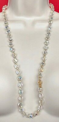 """Vintage Beaded Long AB Crystal Necklace 30"""" D081"""