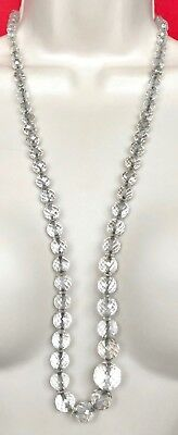 """Vintage Long Beaded Crystal Necklace 30"""" D081"""