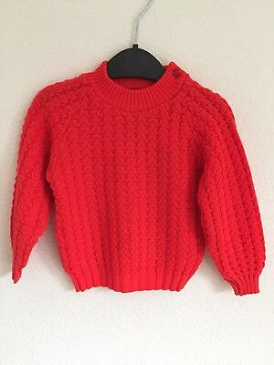 Vintage Babies Jumper Red Retro Knit