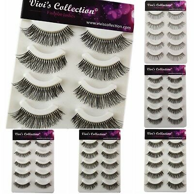 Vivis False Eyelashes 5 Pairs Strip Fake Eye Lashes Multiple Lengths Handmade V1