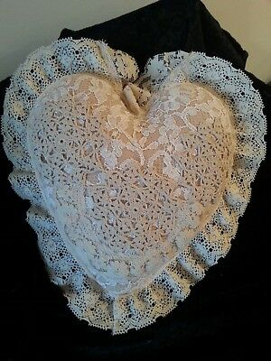 Vintage Victorian Shabby French Chic Laced Decor Heart Toss Pillow Valentine's