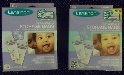2 Boxes LANSINOH BTREASTMILK STORAGE BAGS 100 Total