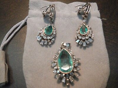 Vintage 18k White Gold Emerald and Diamond Pendant and Earrings