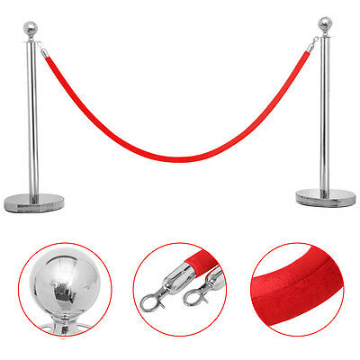 2pcs Stainless Steel Stanchion Post/Rope Velvet Velour VIP Queue Barrier Silver