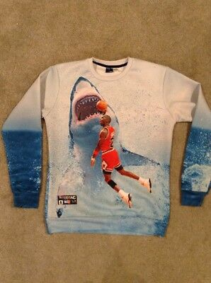 Mr 1991 Inc Michael Air Jordan Jaws Sublimated Crewneck Sweatshirt Sz Youth Xl