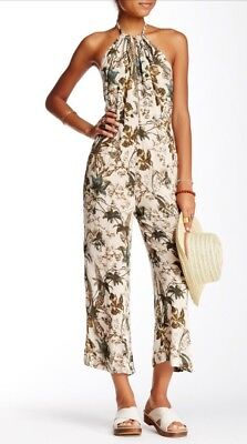 6b38615e2e8 FREE PEOPLE JUMPSUIT Overalls Romper Floral Print Tie Bow Dungarees ...