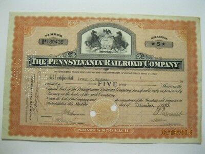 Pennsylvania Railroad Company Stock Certificate- 5 Shares- 1918- 100 Years Old
