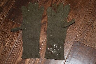 WWII Era US Army Brown Wool Knit Cold Weather Gloves - RARE #1