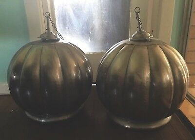STUNNING Pair Of Vintage Industrial Rustic Polished Metal Hanging Light Shades