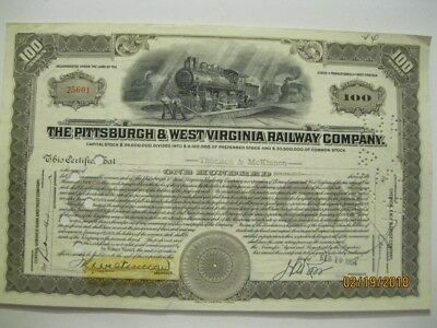 Pittsburgh And West Virginia Railway Company Stock Certificate- 100 Shares- 1954