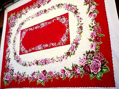 Vintage 40's Red & Pink Flower printed tablecloth