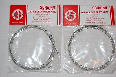 """(2) Vintage Schwinn Approved Universal Derailleur Inner Wire LONG Cables 85"""" NEW"""
