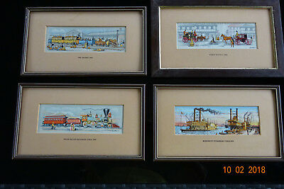 4 x J & J Cash Vintage Woven & Silk Framed Pictures of Vintage Transport