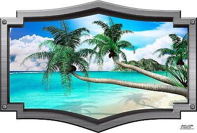 Tropical palm tree beach frame decal Camper RV motor home mural graphic