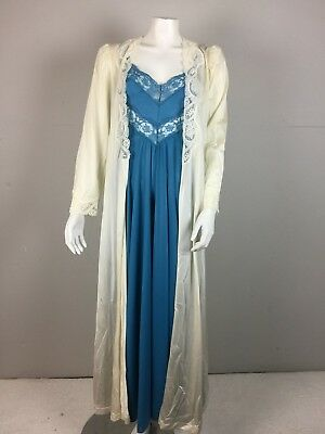 Vtg 80s Lot Set 2 Olga Body Silk Blue White Peignoir Robe Nightgown 94280 9295 S