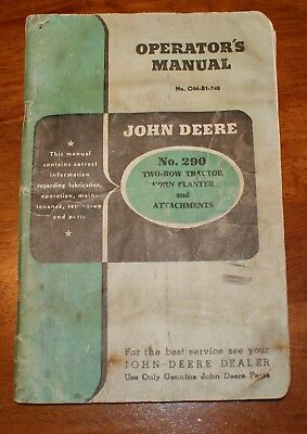 JOHN DEERE No. 290 TWO-ROW TRACTOR CORN PLANTER AND ATTACHMENTS