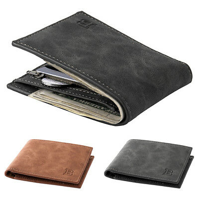Men Vintage Faux Leather Short Wallet Casual Thin Card Holder Purse Gift Utility