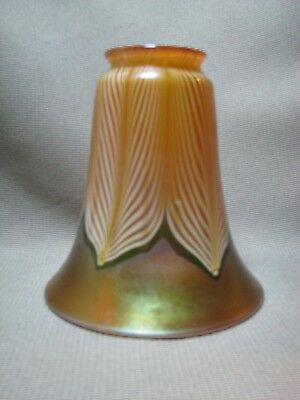 Stunning Unmarked Gold Iridescent Pulled Feather Art Glass Shade