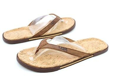 d374c6b11d1 UGG BENNISON II Leather Cork Men's Flip Flops Thongs Luggage Brown Size 7 US