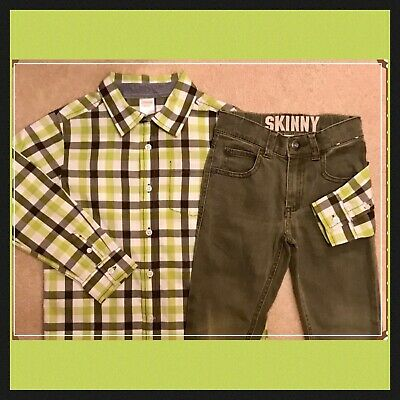 Boys 5T Gymboree FLIGHT SCHOOL 2pc Olive JEANS & Checked Shirt Set . . Pristine!