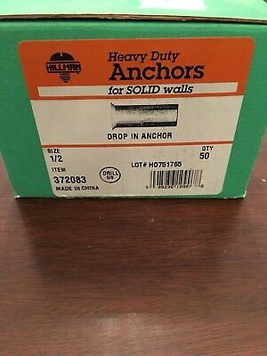 "The Hillman Group 372083 1/2"""" Drop-In Anchor 50-Pack BRAND NEW"