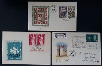 1950-4 Israel lot of 3 Jewish New Year & de Rothschild First Day Covers
