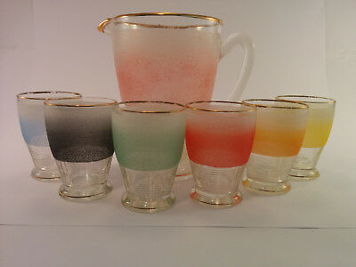 Retro glass jug and glasses, frosted water glasses,