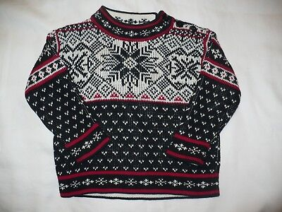 Hanna Andersson Childrens Unisex Red/White/Black Pullover Nordic Sweater – SZ 80
