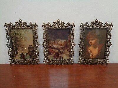 SET of 3 VINTAGE ITALIAN SILK PRINTS in BRASS FRAMES with GLASS, WALL HANGINGS