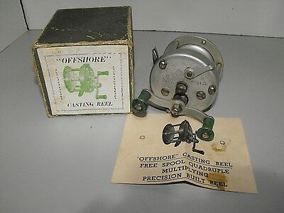 """Rare Vintage Offshore Vintage Casting Reel With Box And Manual In """"GWO"""""""