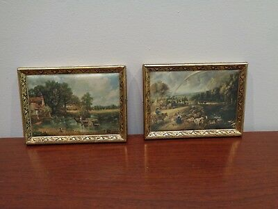 SET of 2 VINTAGE ITALIAN SILK PRINTS in BRASS FRAMES - DECORATIVE WALL HANGINGS