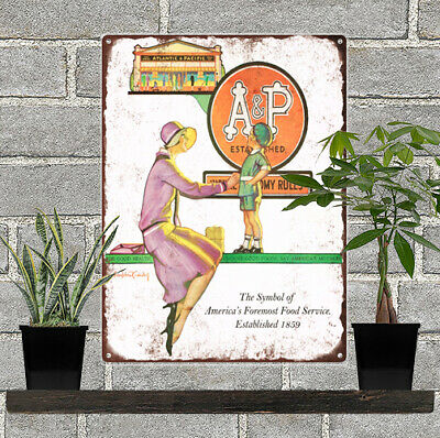 "1920s A&P Grocery Store Woman Child Ad Art Metal Sign Repro 9x12"" 60328"