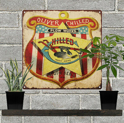 """Oliver Chilled Plow Works Hilled Shield Farm Metal Sign Repro 12x12"""" 60344"""