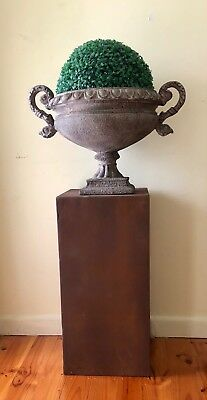 French Provincial Rustic Urn With Decorative Handles On Pedestal With Topiary